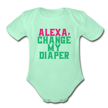 Alexa, Change My Diaper Organic Short Sleeve Baby Bodysuit - light mint