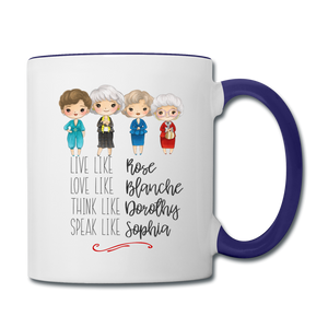 Live Like Girls Stay Golden Contrast Coffee Mug - white/cobalt blue
