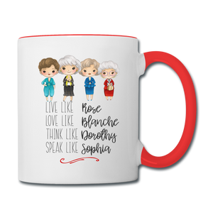 Live Like Girls Stay Golden Contrast Coffee Mug - white/red
