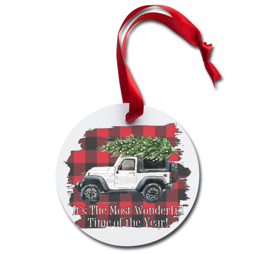 Jeep Christmas Holiday Ornament - white
