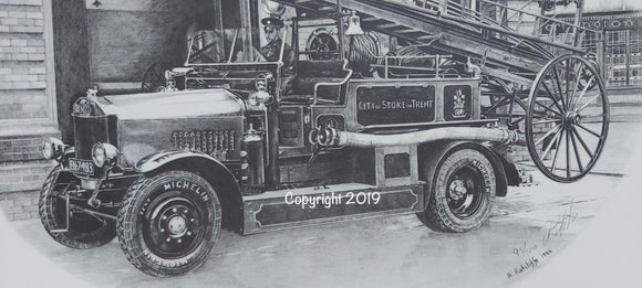 1928 Dennis Fire Engine Print