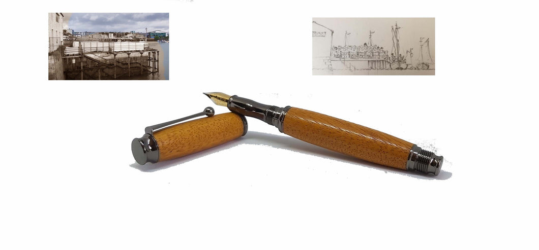 Fountain pen handmade in Iroko wood from Phoenix Wharf, Plymouth. - DevonPens