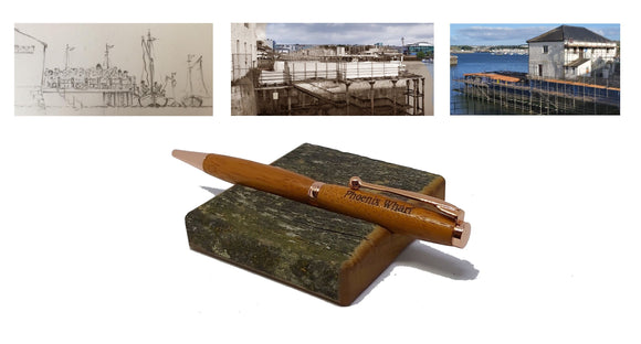 Ballpoint pen & desk stand handmade in Iroko wood from Phoenix Wharf, Plymouth. freeshipping - DevonPens