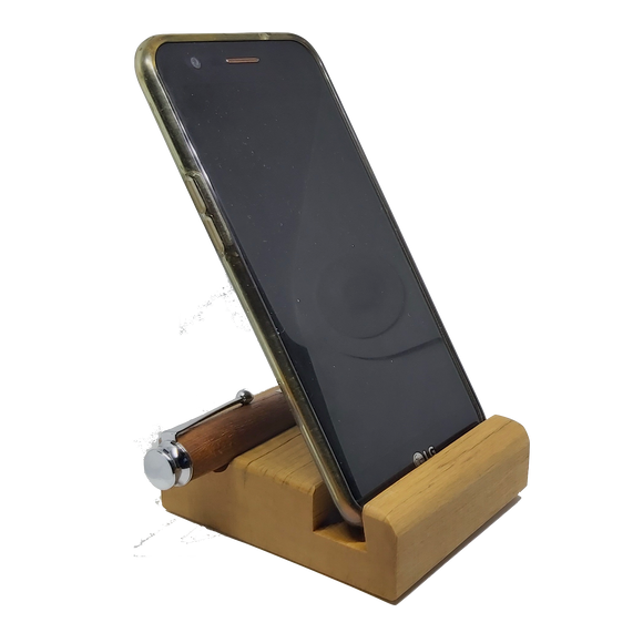 Wooden phone desk stand with pen rest.-Phone stand-DevonPens