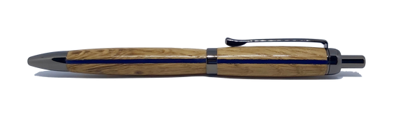 Thin blue line ballpoint pen in Oak from Saltram House Plymouth freeshipping - DevonPens