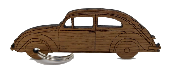 Saltram House Oak Keyring in the shape of a VW Beetle freeshipping - DevonPens