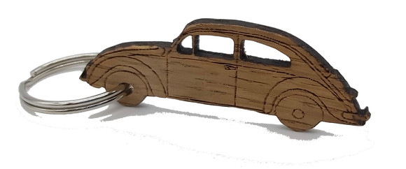 Small Saltram Oak Keyring in the shape of a VW Beetle freeshipping - DevonPens