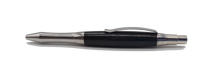 Ballpoint pen in Stainless steel with Ancient English Bog Oak c3300 BC - DevonPens