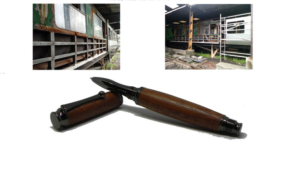 Rollerball pen in African Mahogany from W2180 Railway carriage