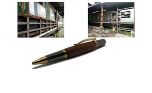 Ballpoint pen in African Mahogany from W2180 a 1950 Railway Coach - DevonPens