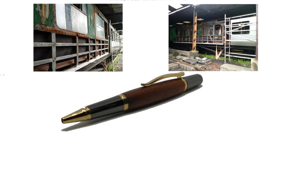 Ballpoint pen in African Mahogany from W2180 a 1950 Railway Coach freeshipping - DevonPens