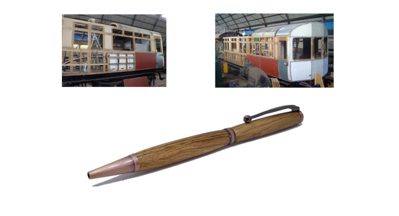 Ballpoint twist pen in Oak taken from GWR 169 rail carriage freeshipping - DevonPens