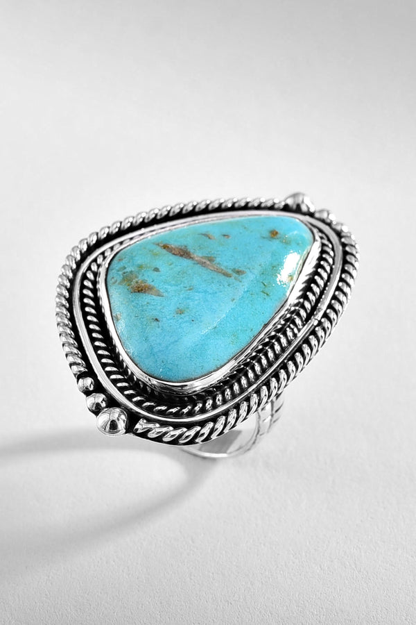 Turquoise Triangle Silver Ring