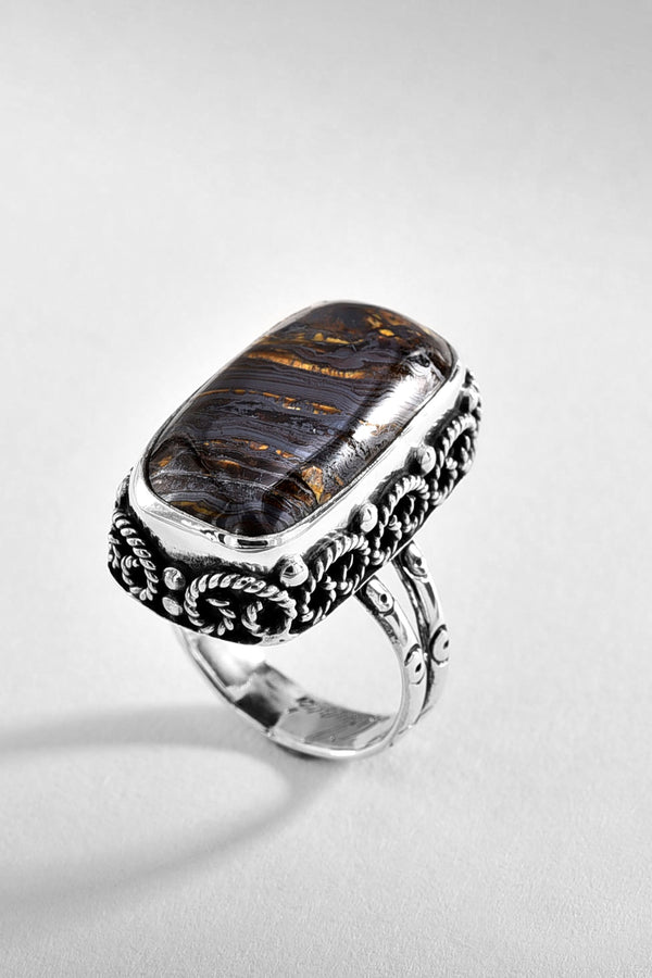 Tiger Iron Sterling Silver Ring