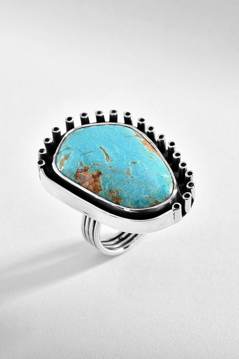 World Turquoise Silver Ring