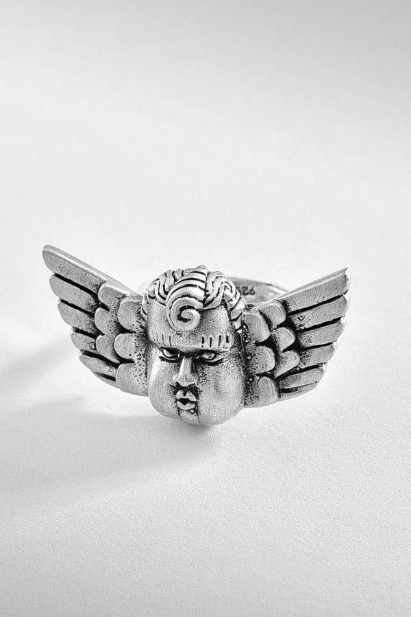 Matte Baroque Angel Silver Ring
