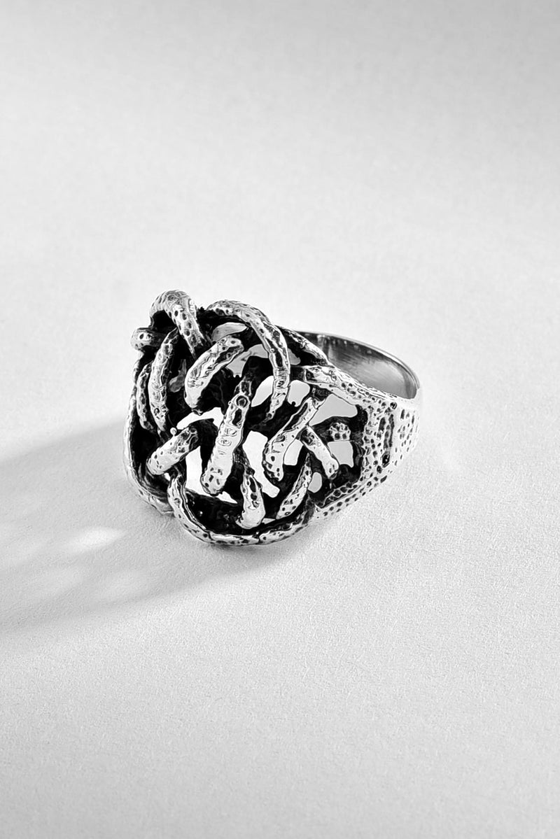 Knotted Sterling Brutalist Ring