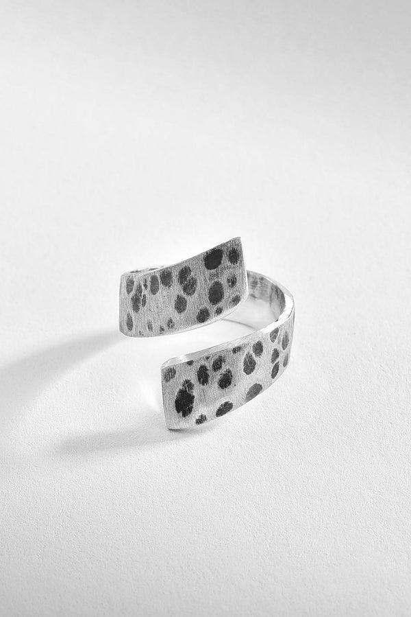 Hammered and Brushed Silver Ring