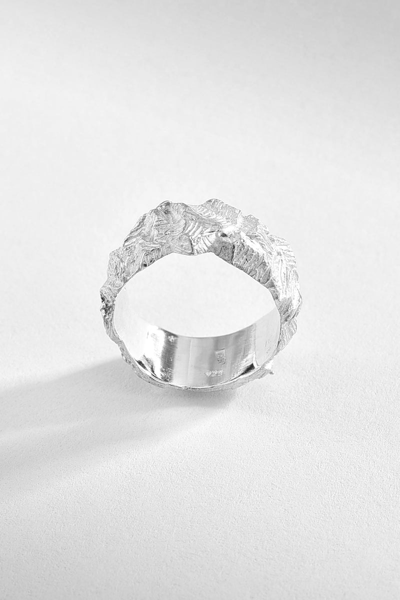 Rocky Textured Silver Ring