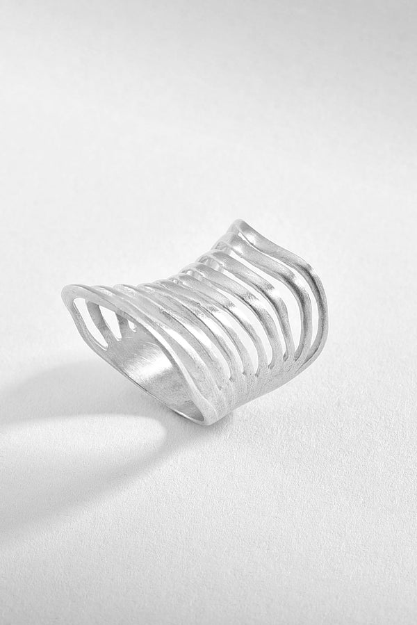 Ribbed Sterling Silver Ring