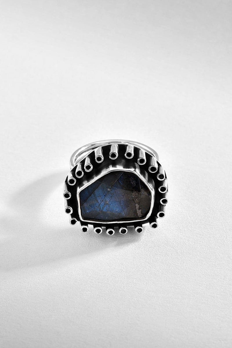 Adjustable Labradorite Silver Ring