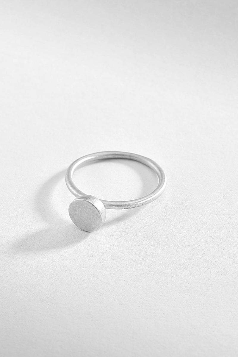 Round Matte Surface Silver Ring