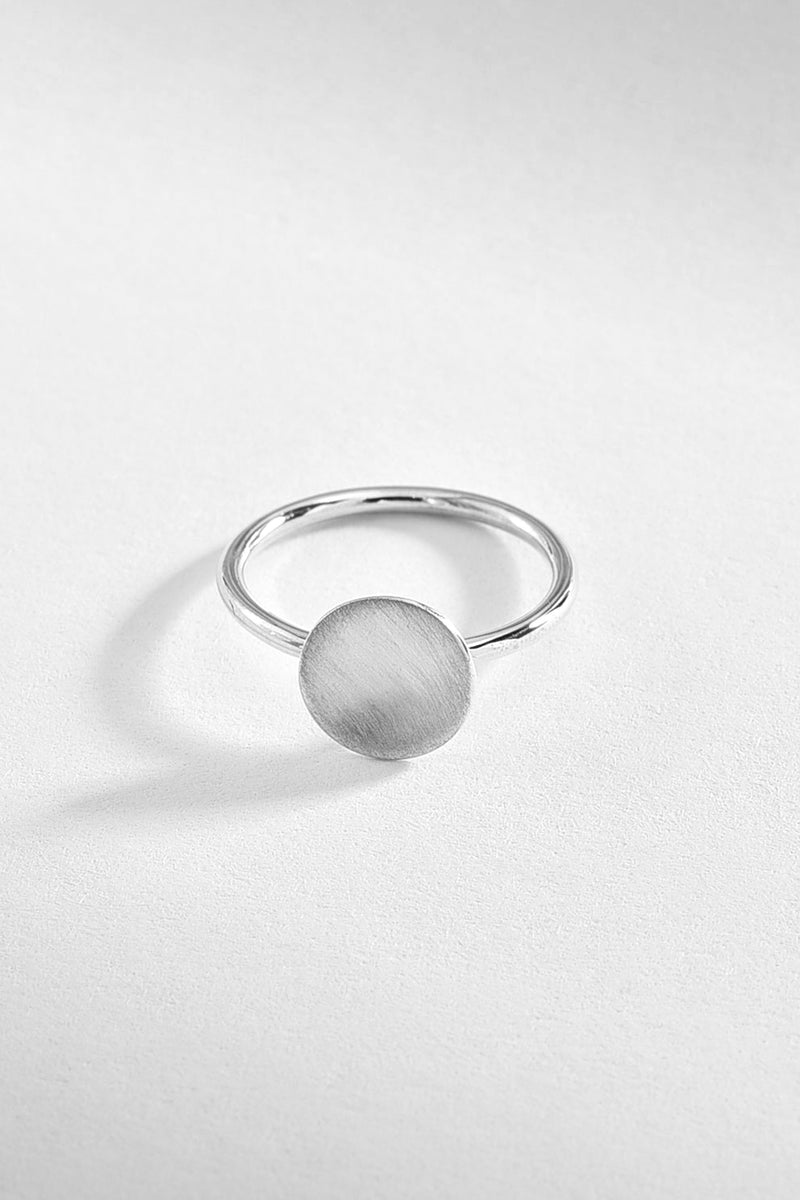 Brushed Round Silver Ring