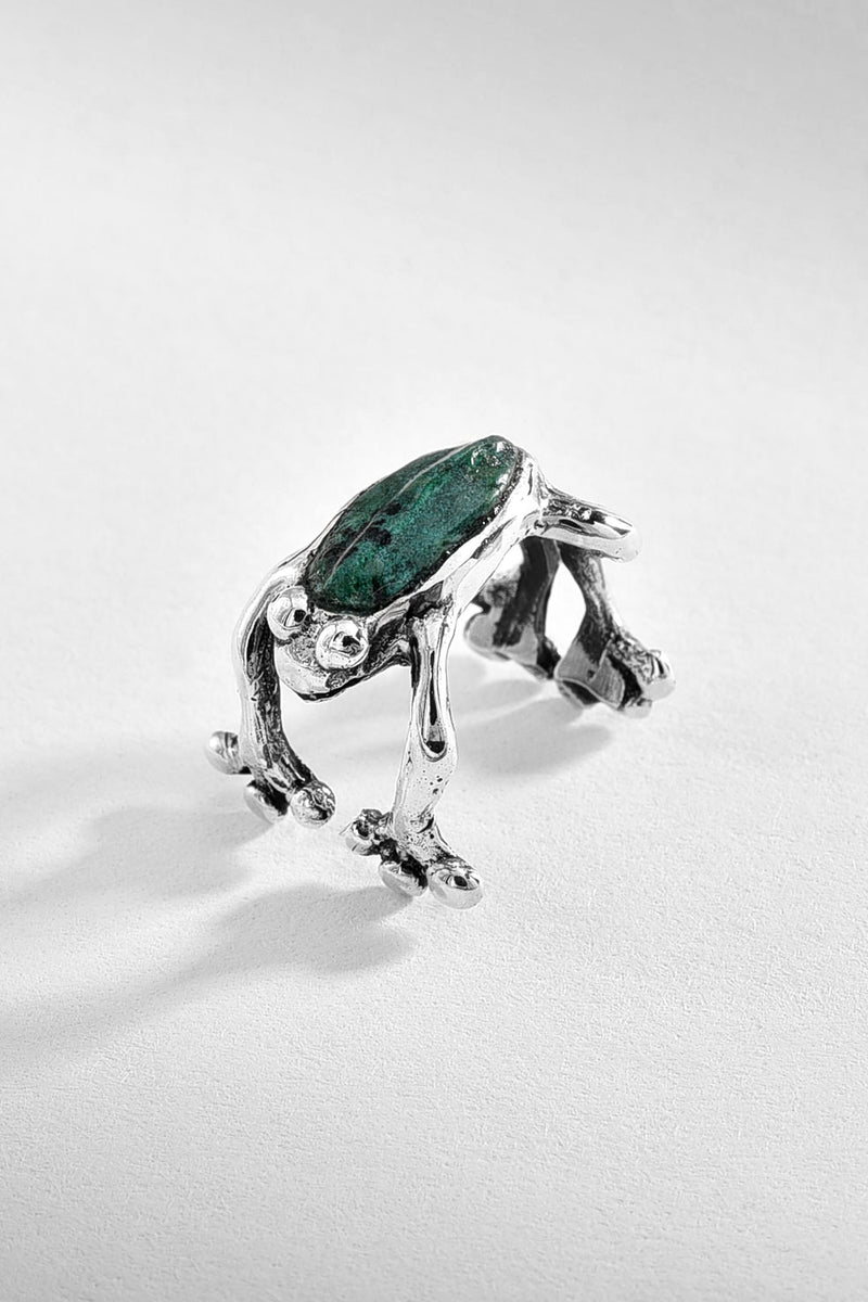 Azurite Frog Sterling Silver Ring