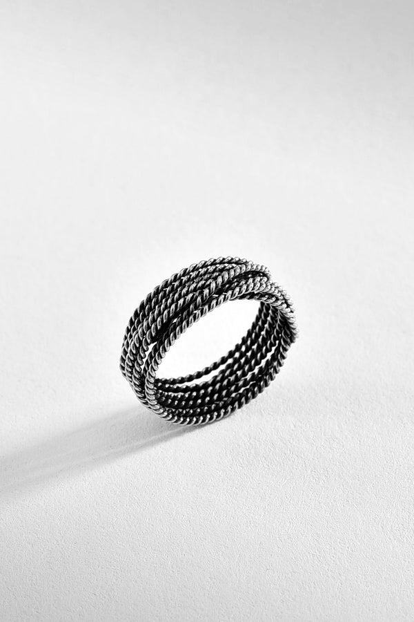 Spun Cord Sterling Silver Ring