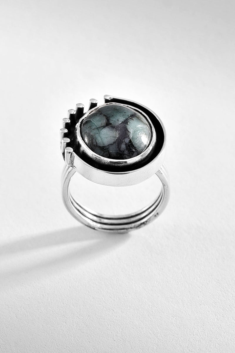 Green Obsidian Silver Ring
