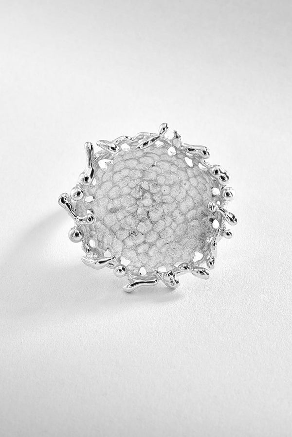 Roughed Round Sterling Silver Ring