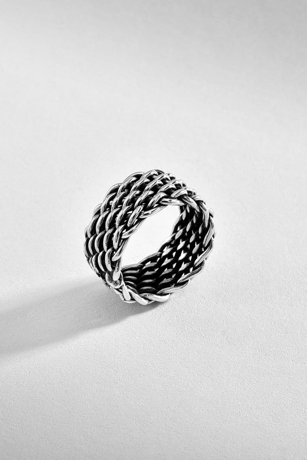 Wide Sterling Silver Woven Ring