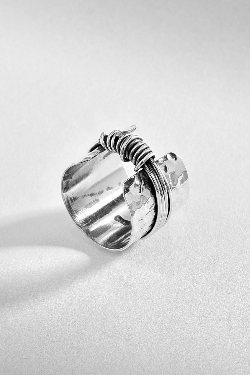Wired & Hammered Wide Band Ring