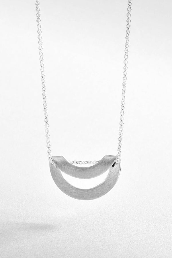 Liquid Circle Brushed Silver Necklace
