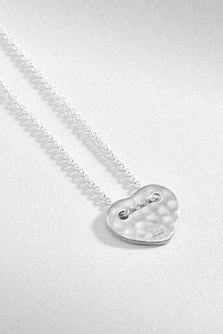 Hammered Heart Silver Pendant Necklace