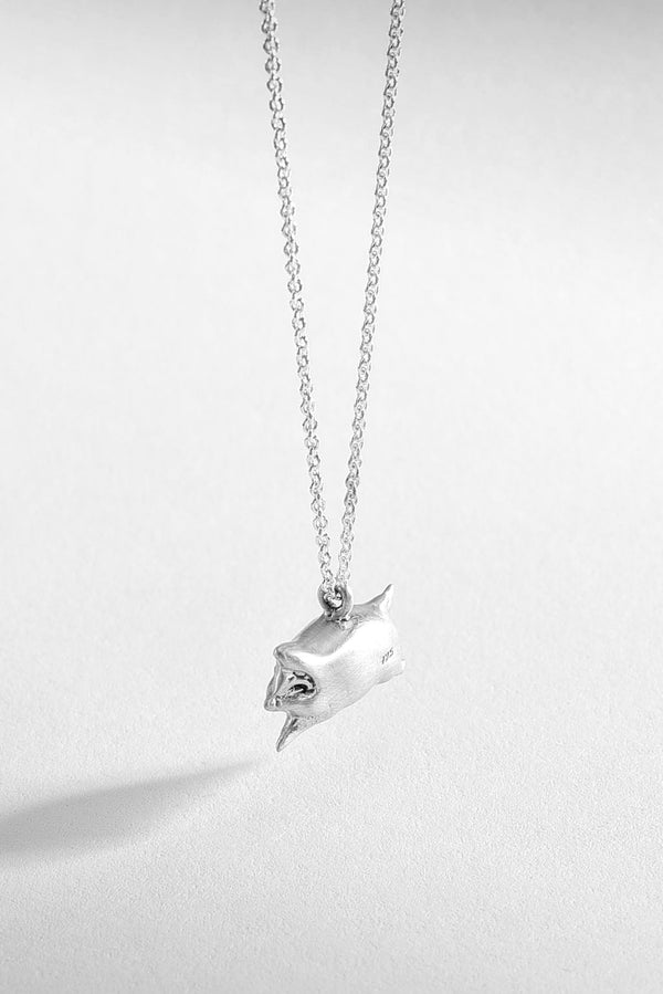 Blissful Pig Silver Necklace