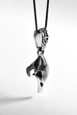 Bird Skull Silver Pendant Necklace