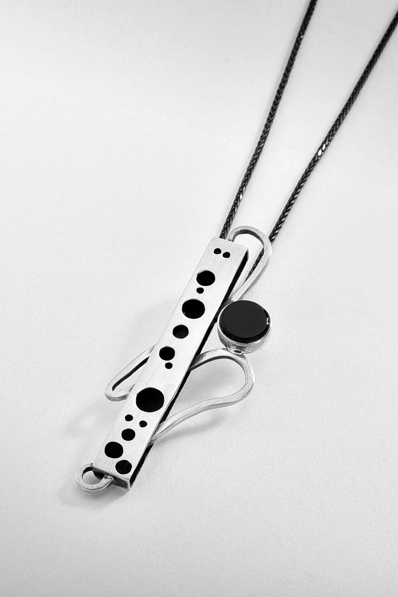 Onyx Bar Silver Pendant Necklace