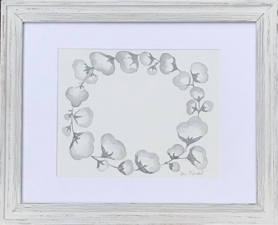 Cotton Wreath - framed
