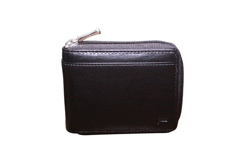FUTURA Genuine Leather Mens Zip Around Wallet