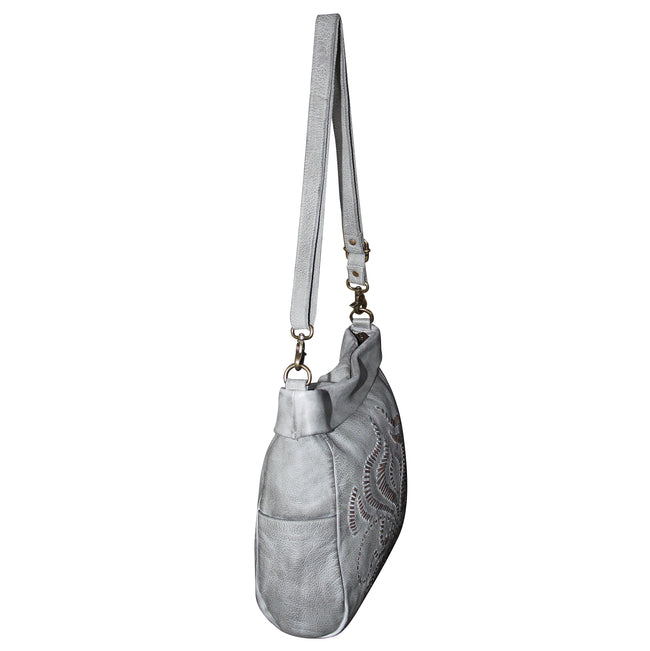 Giannotti Genuine Leather Embroidered Square Hobo Bag