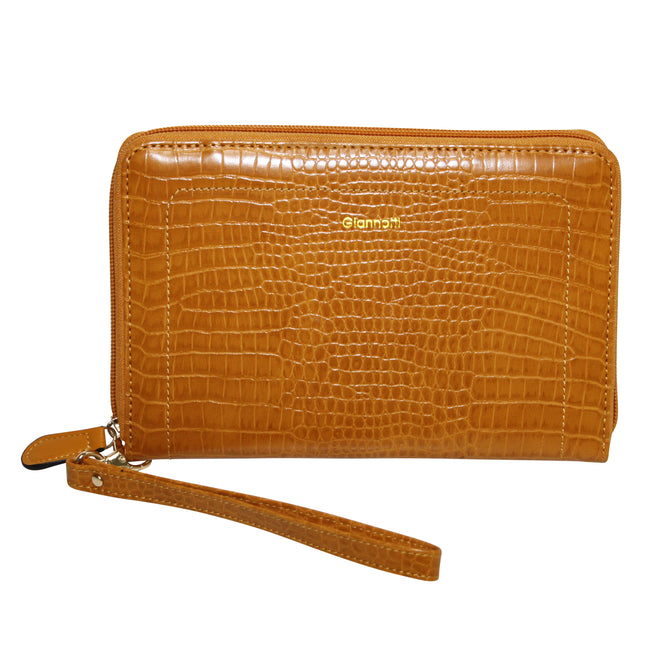 Giannotti Snake Fashion Travel Wallet - Mustard