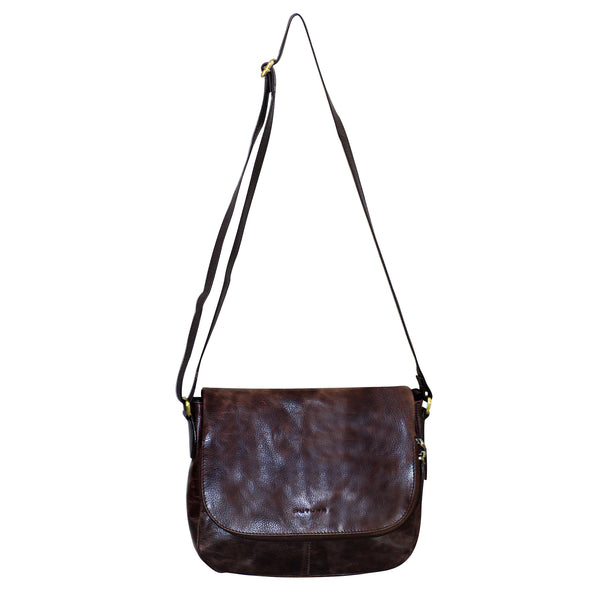 FUTURA Genuine Leather Flap Over Cross Body Bag