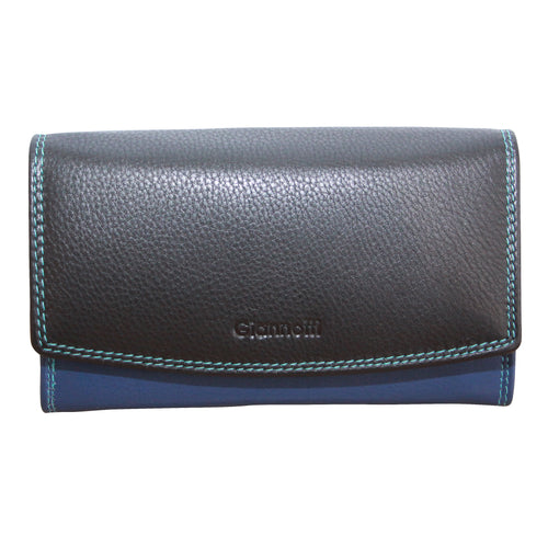 Giannotti Ladies Multi Colour Flap Over Leather Purse With Frame