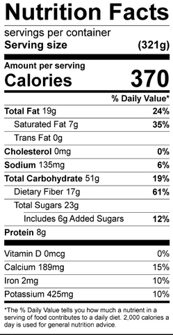 Nutrition Label for Chia Seed Pudding