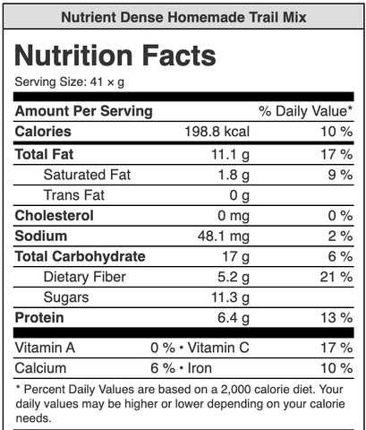 Nutrient dense trail mix nutrition label