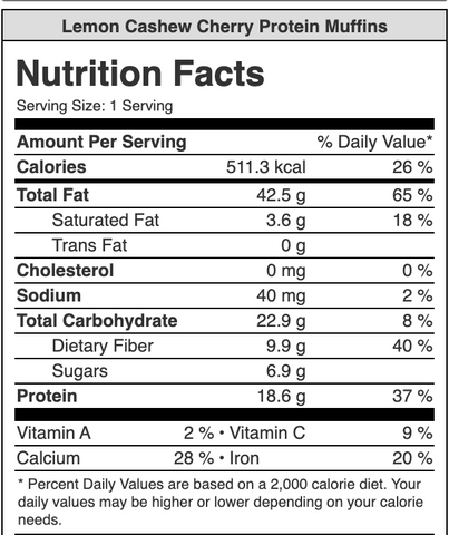 Nutrition label for Lemon Cashew Cherry Protein Muffins with Turmeric Apricot Chia Jam