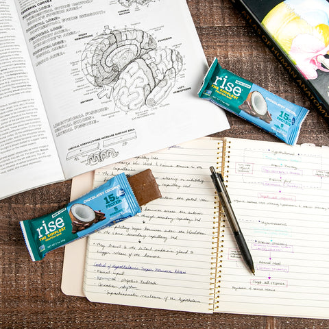 Chocolatey Coconut Rise Bars on top of study books