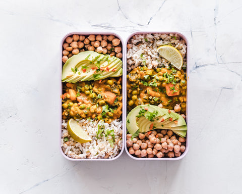 Meal prep of healthy gluten free bowl