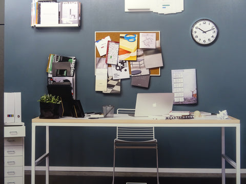 Cluttered office area, declutter and refocus
